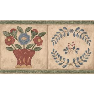 "Retro Art Abstract Floral Wallpaper Border - 15' x 6.25"" - Beige"