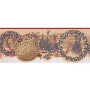 """Retro Art Wreath Bouquet Wallpaper Border - 15' x 9.25"""" - Multicolour"""