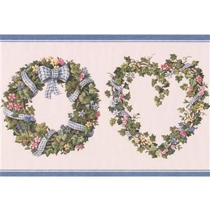 "Retro Art Flowers in Wreath Floral Wallpaper Border - 15' x 7"" - Pink"