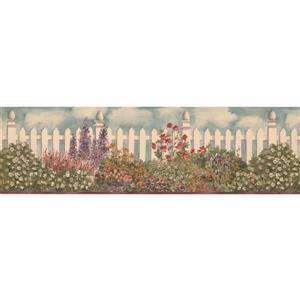 "Retro Art Flowers by white Fence Wallpaper Border - 15' x 7"""