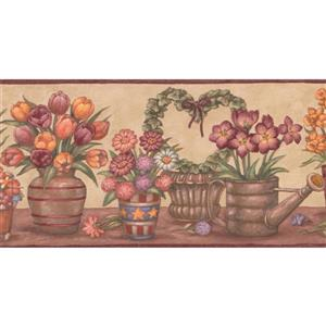 "Retro Art Flowers in Pots Wallpaper Border - 15' x 5"" - Yellow"