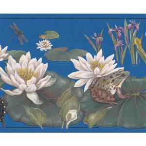"Retro Art Flowers and Frog Wallpaper Border - 15' x 7"" - Blue"