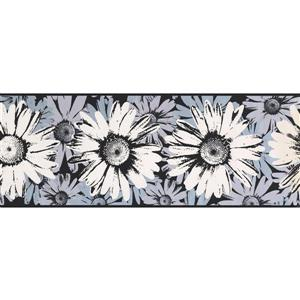 York Wallcoverings Abstract Flowers Wallpaper Border - 15-ft x 9-in - Black