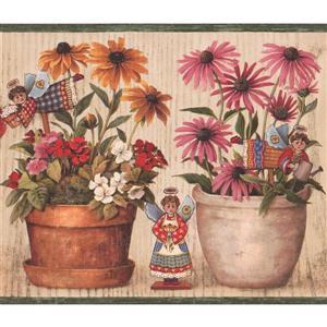"Retro Art Flowers Wallpaper Border - 15' x 9"" - Beige"