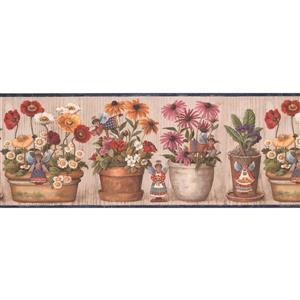Retro Art Flowers in Pots Wallpaper Border - 15'