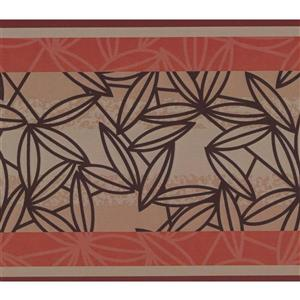 York Wallcoverings Abstract Leaves Wallpaper Border - 15-ft x 6-in - Red