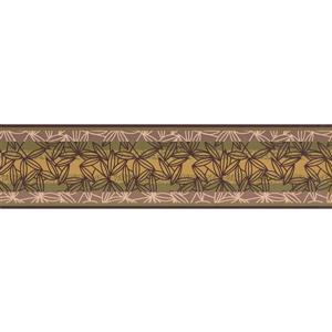 York Wallcoverings Abstract Leaves Wallpaper Border - 15-ft x 6-in - Hazelnut