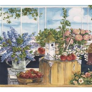 Norwall Flowers Fruits Birdhouses Wallpaper Border - 15' x 9-in- Blue