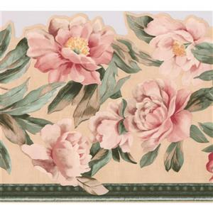 "Retro Art Leaves Floral Wallpaper Border - 15' x 10"" - Pink"