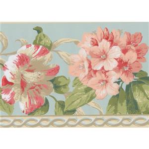 York Wallcoverings Flowers Retro Wallpaper Border - 15-ft x 7-in - Blue
