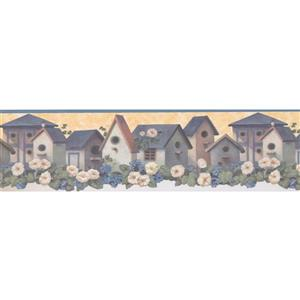 "Retro Art Flowers and Birdhouse  Wallpaper Border - 15' x 6.5"" - Blue"