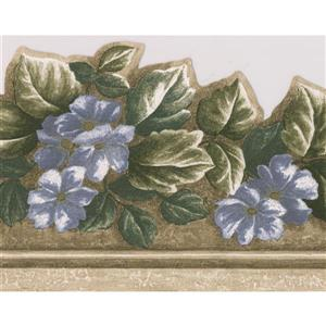 Norwall Floral Wallpaper Border - 15' x 6-in- Gray