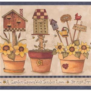 "Retro Art Farmhouse Wallpaper Border - 15' x 7"" - Yellow"