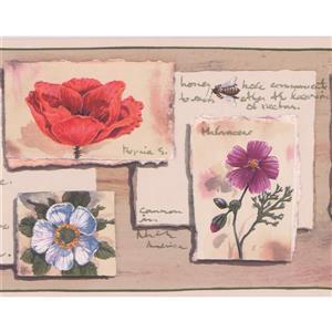 "Retro Art Flowers Vintage Wallpaper Border - 15' x 6.75"" - Beige"
