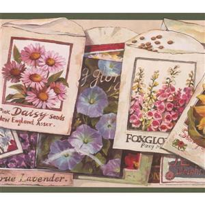 """Retro Art Flower Seeds Packets Wallpaper Border - 15' x 7"""""""