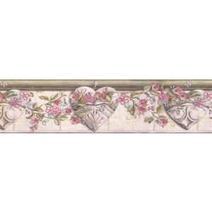 "Chesapeake Flowers on Vine Wallpaper Border - 15' x 6"" - Pink"