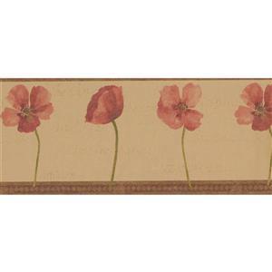 "Retro Art Flowers Vintage Wallpaper Border - 15' x 10.25"" - Brown"