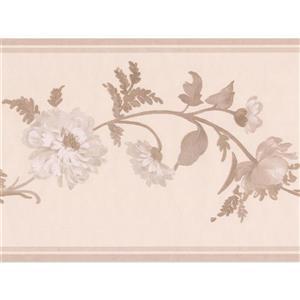 "Retro Art Flowers on Vine Wallpaper Border - 15' x 6.87"" - Taupe"