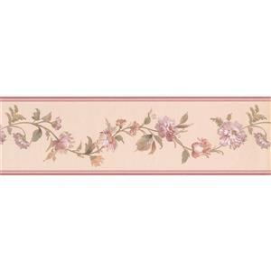 """Retro Art Flowers on Vine Wallpaper Border - 15' x 7"""" - Beige"""