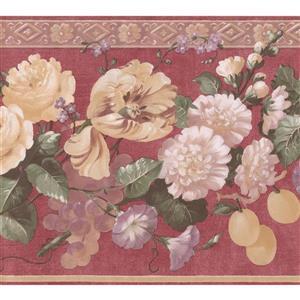 "Retro Art Blooming Flowers Wallpaper Border - 15' x 10.5"" - Red"