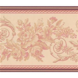"Retro Art Abstract Vines Floral Wallpaper Border - 15' x 6"" - Beige"