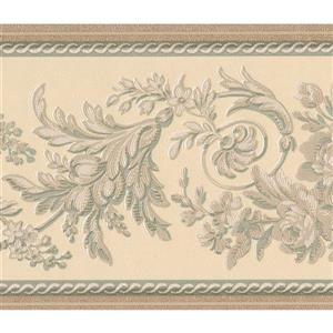 """Retro Art Abstract Floral Wallpaper Border - 15' x 6"""" - Ivory"""