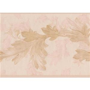 "Retro Art Leaves on Vine Floral Wallpaper Border - 15' x 6.75"" - Beige"