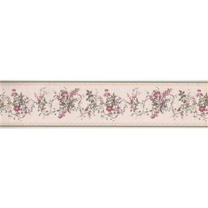 "Retro Art Berries Floral Wallpaper Border - 15' x 5.5"" - Pink"