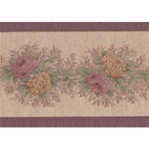 "Retro Art Flowers Wallpaper Border - 15' x 3.5"" - Beige"