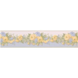 "Retro Art Bloomed Roses Floral Wallpaper Border - 15' x 5"" - Yellow"