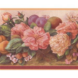 "Retro Art Flowers and Fruits Wallpaper Border - 15' x 7"" - Pink"