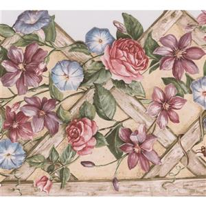 "Retro Art Flowers on Fence Wallpaper Border - 15' x 10.25"" - Beige"