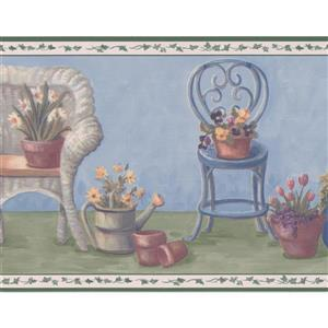 "Retro Art Chairs with Flowers Wallpaper Border - 15' x 7"" - Blue"
