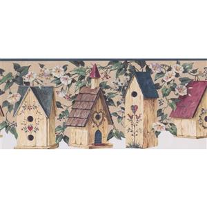 Retro Art Birdhouses in Flowers Wallpaper Border - 15' x 8.6""