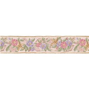 "Retro Art Flowers Seashells Starfish Wallpaper Border - 15' x 4.5"""