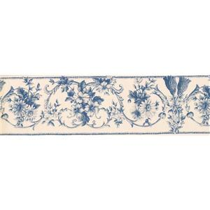 "Retro Art Damask Floral Wallpaper Border - 15' x 7"" - Beige"