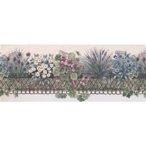 "Retro Art Flowers on the Balcony Wallpaper Border - 15' x 9"" - Beige"