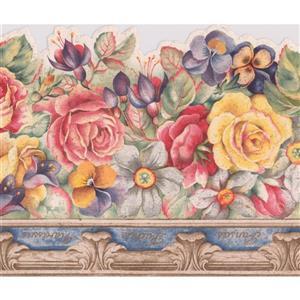"Retro Art Flowers Vintage Wallpaper Border - 15' x 6.7"" - Red"