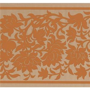 "Retro Art Floral Damask Wallpaper Border - 15' x 10"" - Orange"