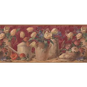 "Retro Art Tulips in Pots Wallpaper Border - 15' x 10.25"" - Red"