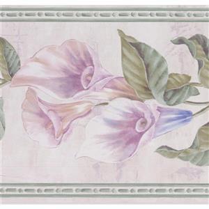"Retro Art Flowers on Vine Wallpaper Border - 15' x 7"" - Purple"