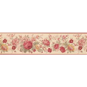 "Retro Art Blooming Flowers Wallpaper Border - 15' x 6"" - Red"