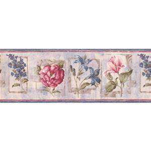 "Retro Art Abstract Floral Wallpaper Border - 15' x 8.25"" - Lilac"