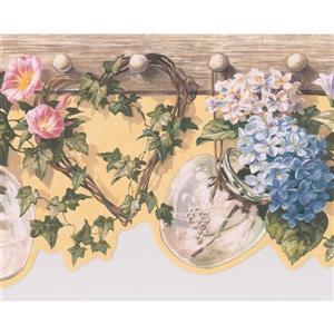 "Retro Art Floral Vase Wallpaper Border - 15' x 8.4"""