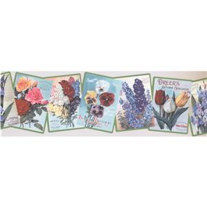 """Retro Art Floral Art Books Wallpaper Border - 15' x 7.2"""" - Multicolour"""