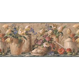 "Retro Art Flowers in pots Wallpaper Border - 15' x 10.25"""