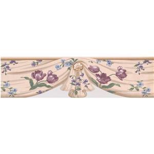 "Retro Art Tulips Wallpaper Border - 15' x 6.4"" - Ivory"