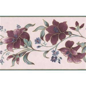 "Retro Art Creme Floral Wallpaper Border - 15' x 6.87"" - Mauve"