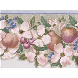 "Retro Art Flowers Pears Apples Wallpaper Border - 15' x 6.4"" - Beige"