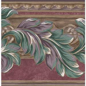 "Retro Art Green Leaves Floral Wallpaper Border - 15' x 7"" - Plum"